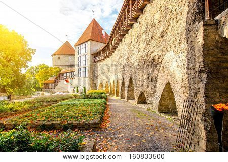 View on the castle wall with towers on Toompea hill in the old town of Tallin, Estonia