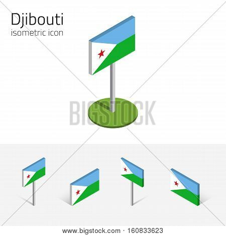 Djiboutian flag (Republic of Djibouti) vector set of isometric flat icons 3D style. African country flags. Editable design elements for banner website presentation infographic map. Eps 10