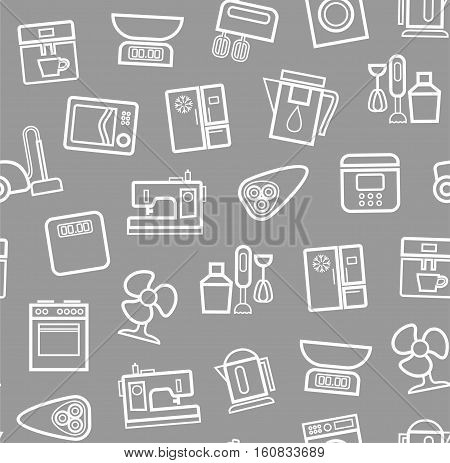 Appliances, background, seamless, gray. Vector white outline icons appliances for home and kitchen on a gray background.