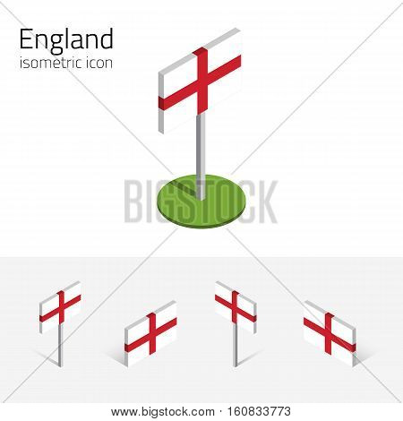 Flag of England (United Kingdom) vector set of isometric flat icons 3D style different views. Editable design elements for banner website presentation infographic poster map collage. Eps 10