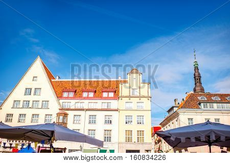 Buildings on the town hall square in the old town of Tallin, Estonia