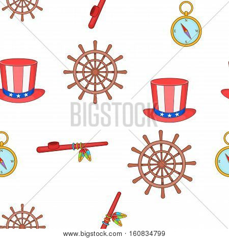 Columbus Day pattern. Cartoon illustration of Columbus Day vector pattern for web