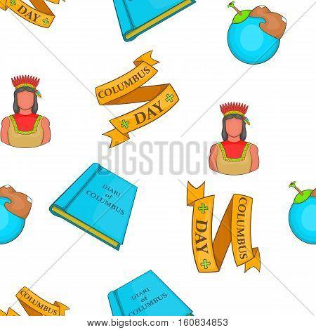 Columbus Day symbols pattern. Cartoon illustration of Columbus Day symbols vector pattern for web