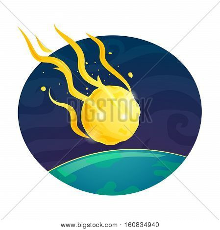 Flaming meteorite falls to Earth concept design, a beautiful print on a T-shirt for the fan astronomy, vector illustration