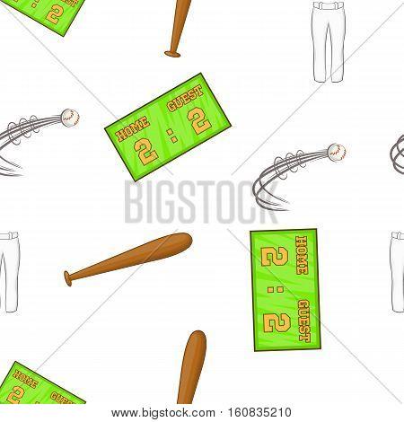 Baseball game equipment pattern. Cartoon illustration of baseball game equipment vector pattern for web