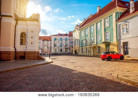 Buildings on Lossi square in the old town of Tallin, Estonia