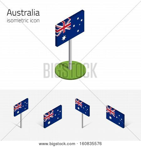 Australian flag (Commonwealth of Australia) vector set of isometric flat icons 3D style different views. 100% editable design elements for banner website presentation infographic map. Eps 10
