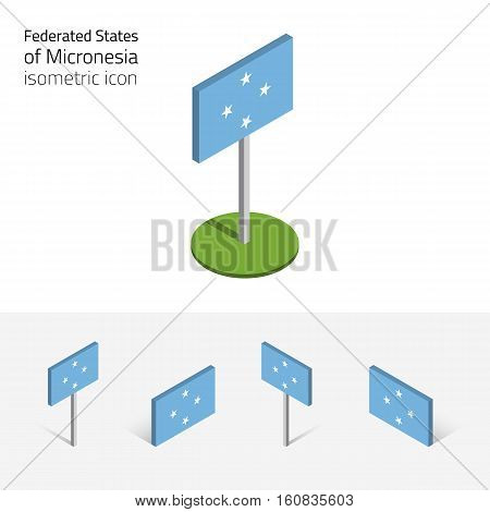 Micronesian flag (Federated States of Micronesia) vector set of isometric flat icons 3D style different views. Editable design elements for banner website presentation infographic map. Eps 10