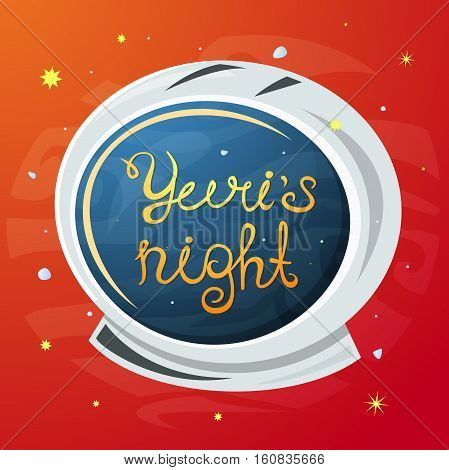 Yuris Night poster, astronaut helmet in the open space, vector illustration
