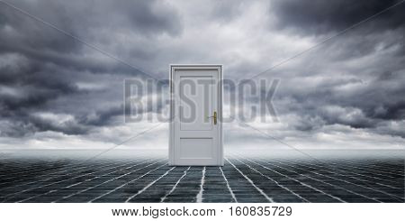 Conceptual Shot Of Closed Doors In Clouds