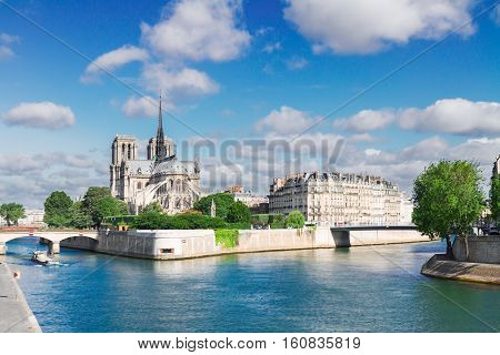 Notre Dame cathedral church, Site island and Seine at summer day, Paris, France