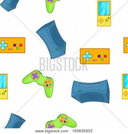 Electronic games pattern. Cartoon illustration of electronic games vector pattern for web