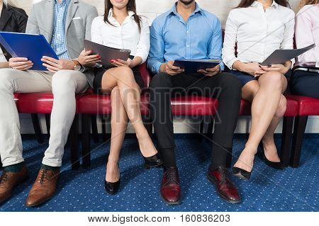Candidates Wait For Job Interview, Mix Race Business People Sitting In Line Human Resources Hiring Vacancy Recruitment