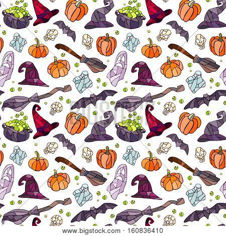 Vector decorative pumpkins, bats, ghosts, broom, caldrons and witch hats stained glass style for your design on white background.