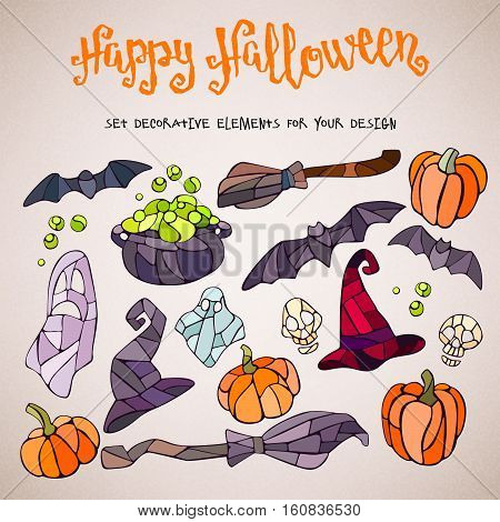 Vector decorative pumpkins, bats, ghosts, brooms, caldrons and witch hats stained glass style for your design on light background.