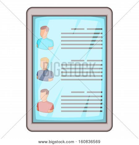 Searching resume icon. Cartoon illustration of searching resume vector icon for web