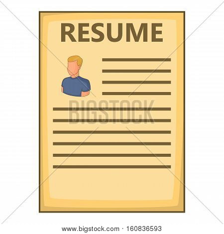 Resume icon. Cartoon illustration of resume vector icon for web