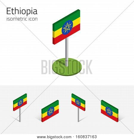 Ethiopian flag (Federal Democratic Republic of Ethiopia) vector set of isometric flat icons 3D style. African country flags. Editable design elements for banner website infographic map. Eps 10
