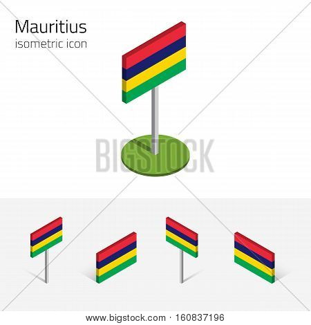 Mauritian flag (Republic of Mauritius) vector set of isometric flat icons 3D style. African country flags. Editable design elements for banner website presentation infographic card map. Eps 10