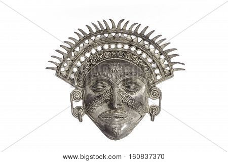 Traditional ancient Sun God ceremonial mask isolated against white background. The Sun God symbolises omnificent powers that are watcing over us (spiritual or state).