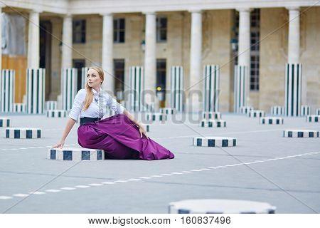 Eautiful Young Woman In Palais Royal In Paris