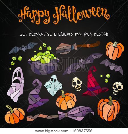 Vector decorative pumpkins, bats, ghosts, brooms, caldrons and witch hats stained glass style for your design on dark background.