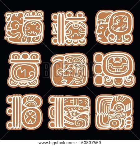 Mayan glyphs, writing system and languge vector design in brown