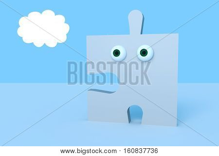 Business Concept: Cartoon Puzzle Piece With Eyes 3d illustration