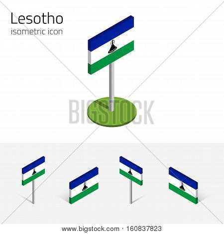 Lesotho flag (Kingdom of Lesotho) vector set of isometric flat icons 3D style. African country flags. Editable design elements for banner website presentation infographic poster map. Eps 10
