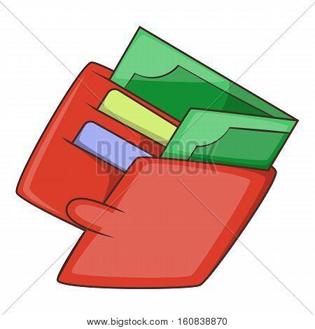 Money wallet icon. Cartoon illustration of money wallet vector icon for web