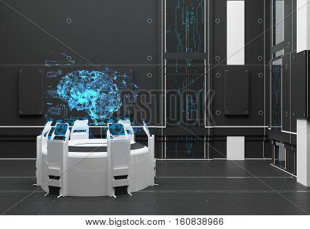 Render Futuristic interior. Hologram Brain. UI interface touchscreen