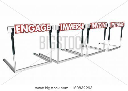 Engage Involve Immerse Interact Hurdles Join Communicate 3d Illustration