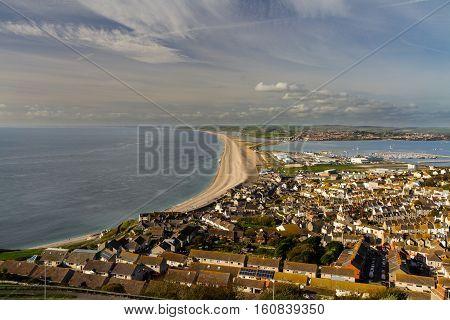 Chesil bank viewed from Portland Bill. Weymouth Dorset England United Kingdom.
