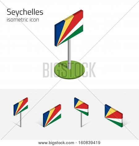 Seychelles flag (Republic of Seychelles) vector set of isometric flat icons 3D style. African country flags. Editable design elements for banner website presentation infographic map. Eps 10