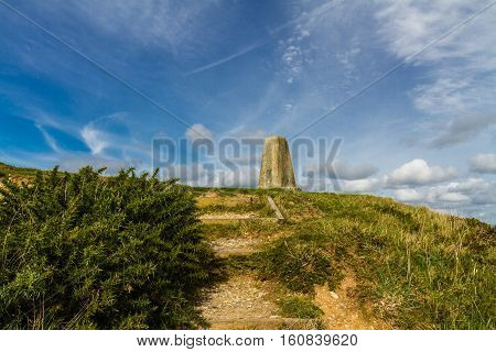 Triangulation Point on Abbotsbury Castle ancient earthwork Abbotsbury Dorset England United Kingdom.