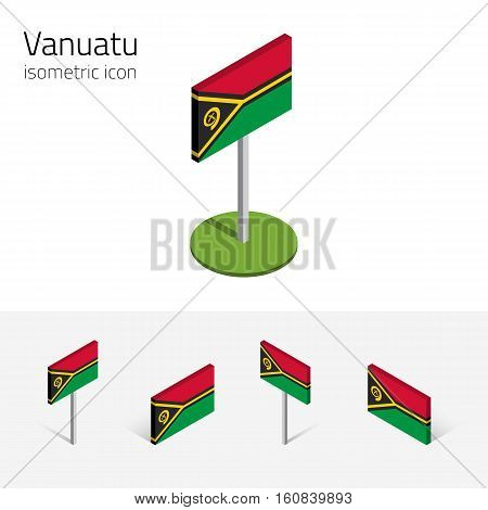 Vanuatu flag (Republic of Vanuatu) vector set of isometric flat icons 3D style different views. 100% editable design elements for banner website presentation infographic poster map. Eps 10