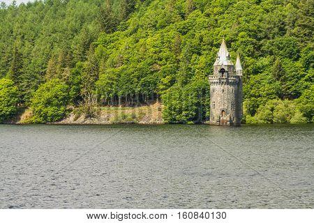 Lake Vyrnwy Reservoir And Straining Tower.