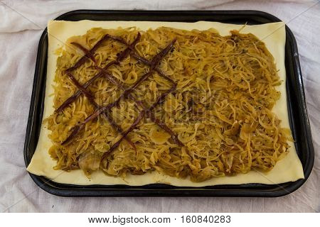 Adding Anchovies When Making French Onion Tart Pissaladiere