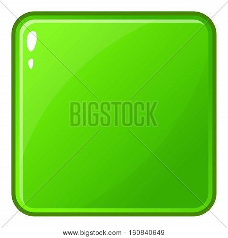Green glossy button icon. Cartoon illustration of green glossy button vector icon for web