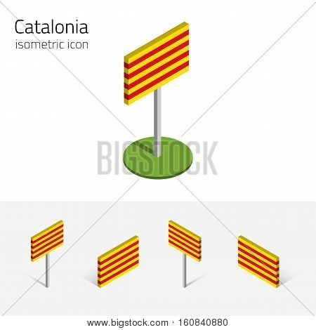 Catalan flag (Catalonia Spain) vector set of isometric flat icons 3D style different views. 100% editable design elements for banner website presentation infographic poster map card. Eps 10