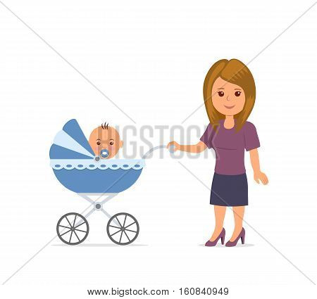 Print Mother with toddler in the pram. Mom and baby isolated on the white background. Baby sitting in stroller. Motherhood. Mother walking with a stroller. Vector illustration in flat style.