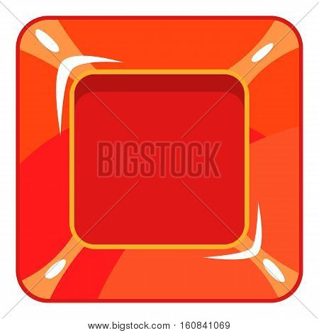 Square red button icon. Cartoon illustration of square red button vector icon for web