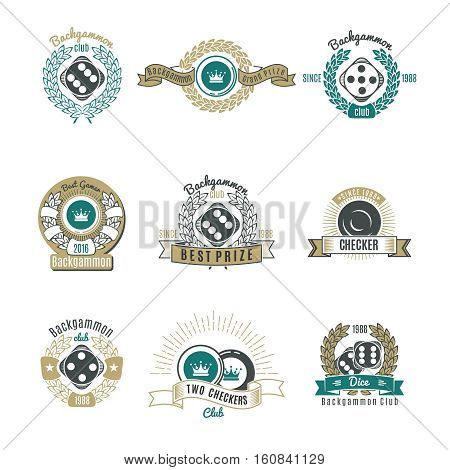 Backgammon clubs retro style emblems with letterings laurel wreaths and rays chips and dice isolated vector illustration