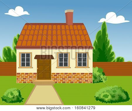 Illustration of a Ecological house in the clean Environment. Eco building is built of natural materials. Family home in a native setting.  The concept of environmental protection. Vector. Horizontal.