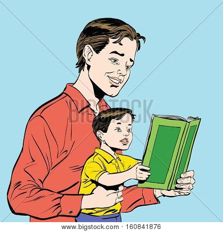 father and son reading a book, sketch vector illustration. Literature and education