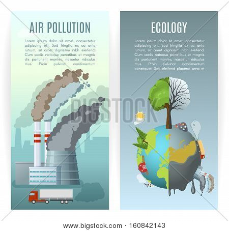 Two vertical ecology banners set with cartoon style environmental air pollution conceptual compositions with editable text vector illustration