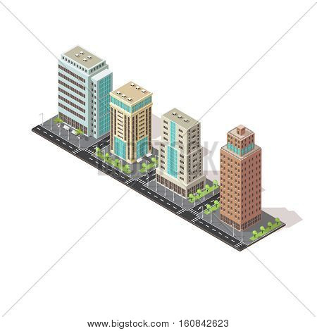 Office tall buildings isometric design with trees road and street lighting on white background vector illustration