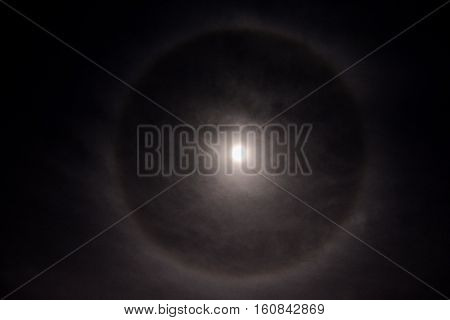 Full Moon In A Cloudy Sky With Halo
