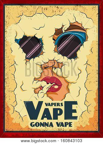 Vape colored poster with asmoke face and vapers vape gonna vape description vector illustration