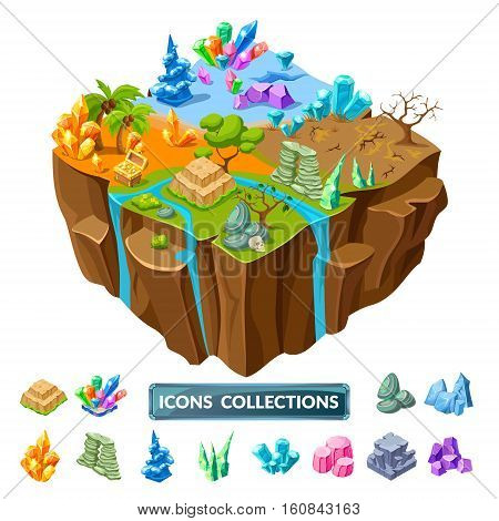 Isometric gaming island with four ground landscapes and set of icons with decorative stones isolated vector illustration
